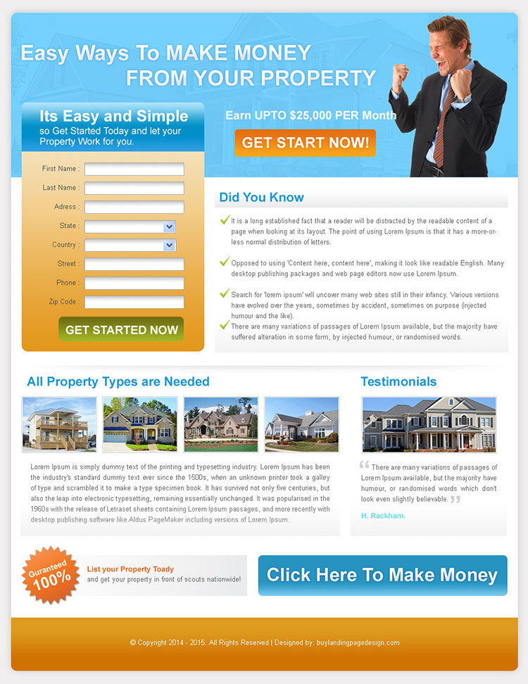 easy ways to make money from your property landing page for sale