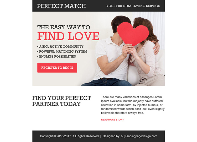 friendly dating service appealing ppv landing page design