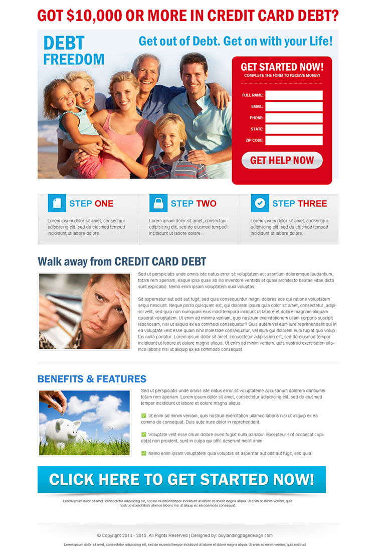 credit card debt attractive and appealing lead gen landing page design