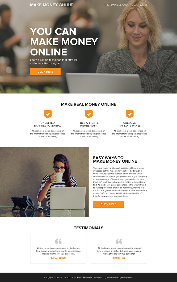 minimal and clean make money online mini landing page design