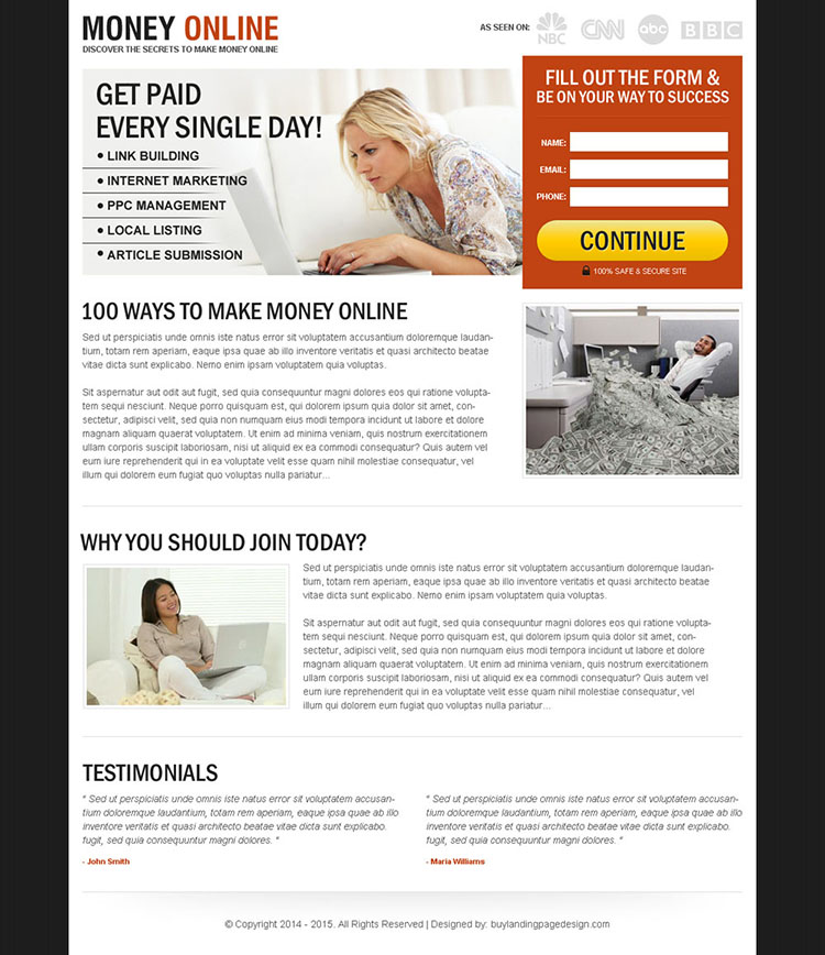 get paid every single day clean and converting lead capture landing page design