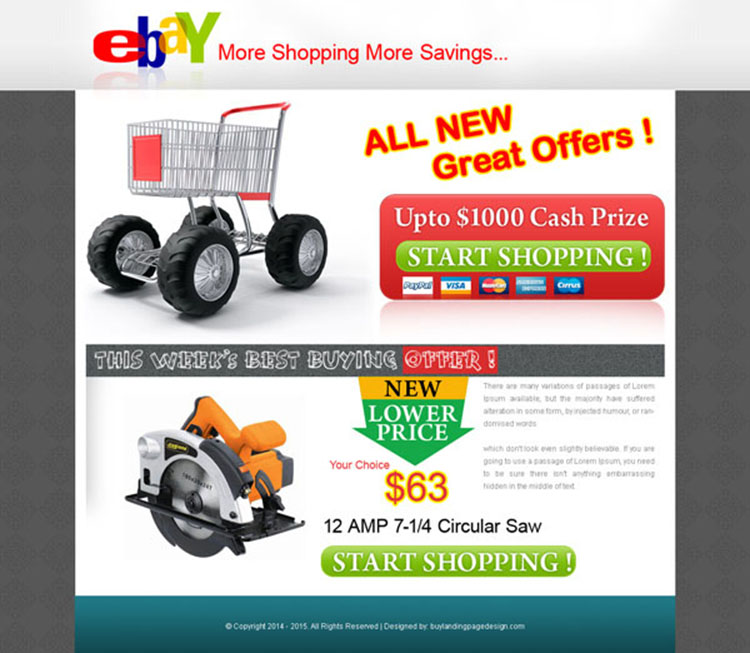 ebay shopping cash prize landing page design for sale