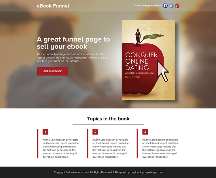 ebook selling lead funnel responsive landing page