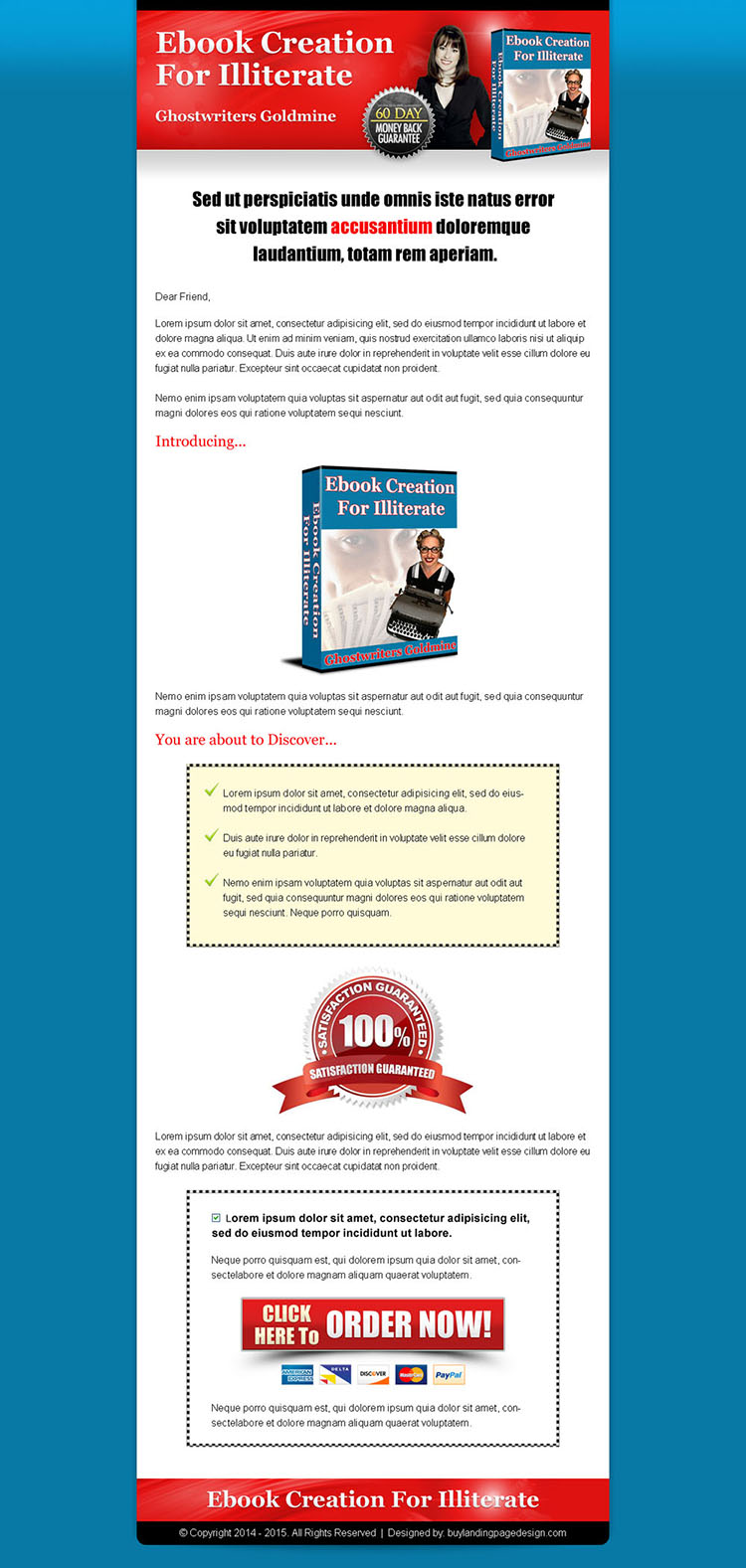 ebook click to action long sales page design to increase your conversion
