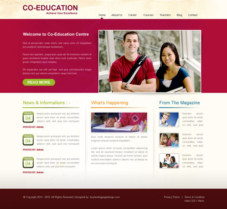 education center clean and appealing website template design psd