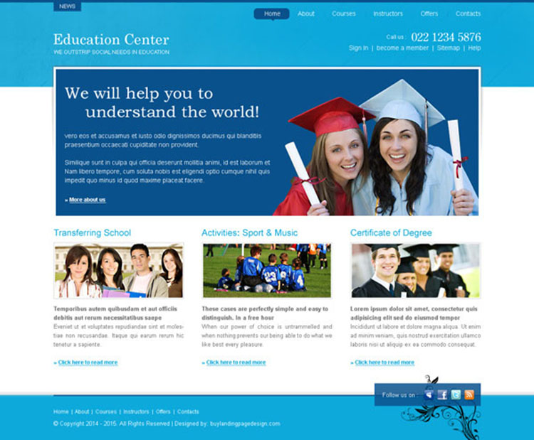 education center professional and informative website template design psd