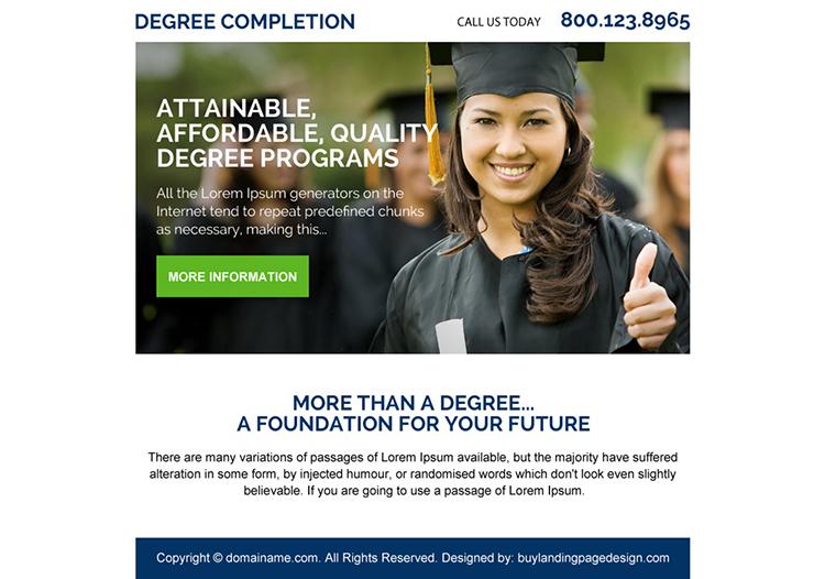 education degree programs ppv landing page design