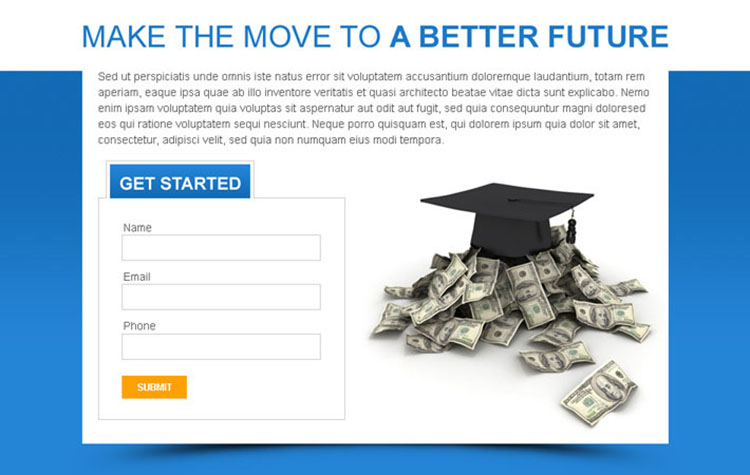 get educated for a better future lead capturing ppv landing page design