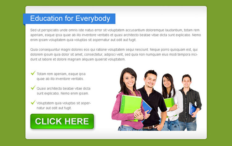 education for everybody call to action ppv landing page design