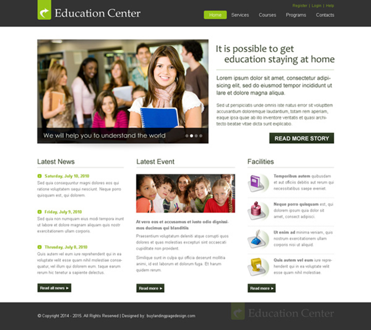 clean and informative education center website template design psd to create your website