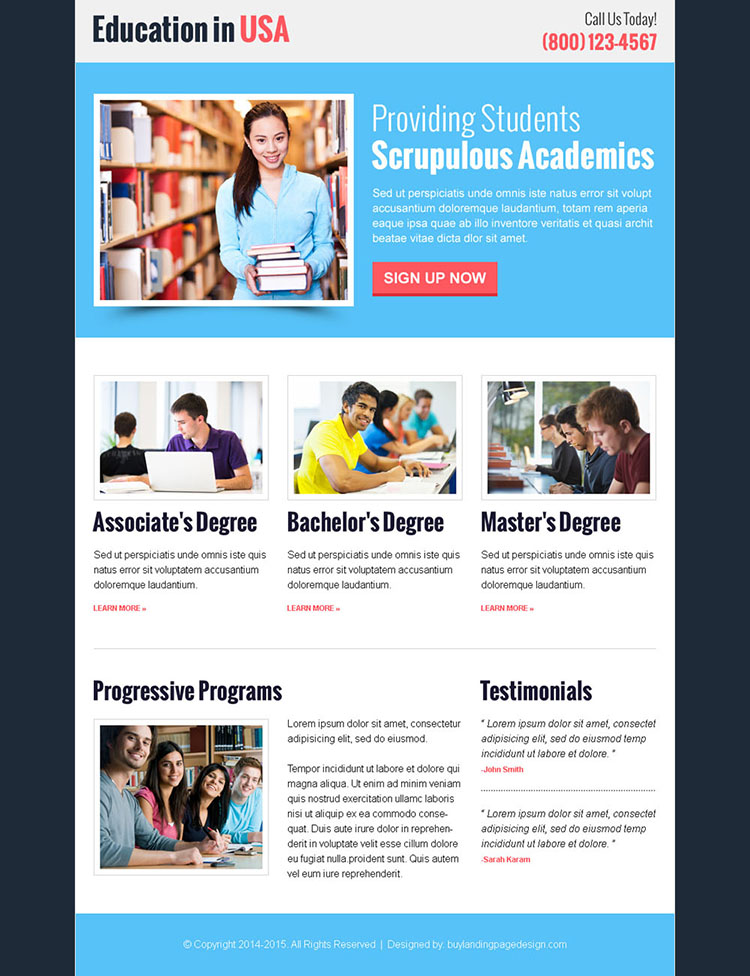 education in usa call to action clean and professional landing page design template