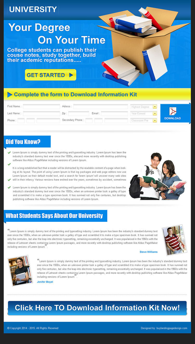 education lead capture landing page design for sale