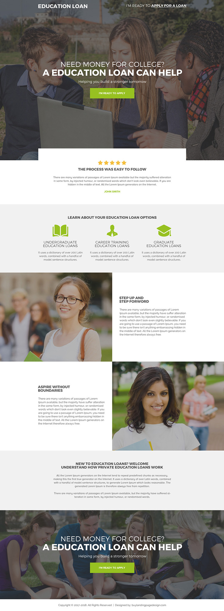 professional education loan landing page for college students