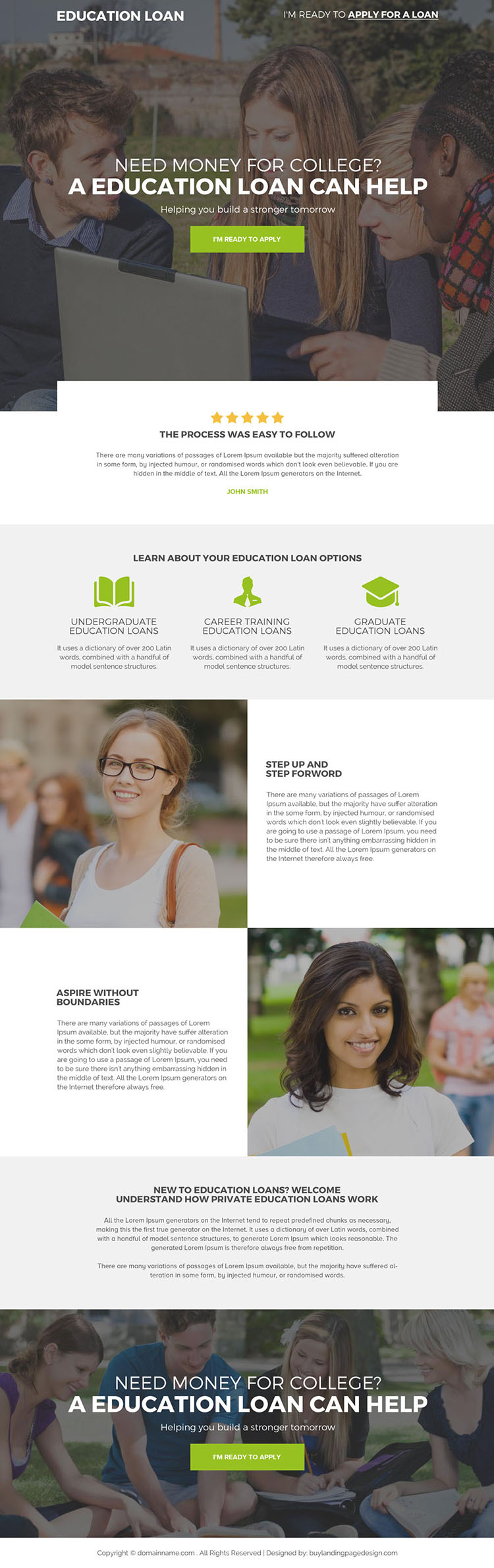 education loan for college student responsive landing page