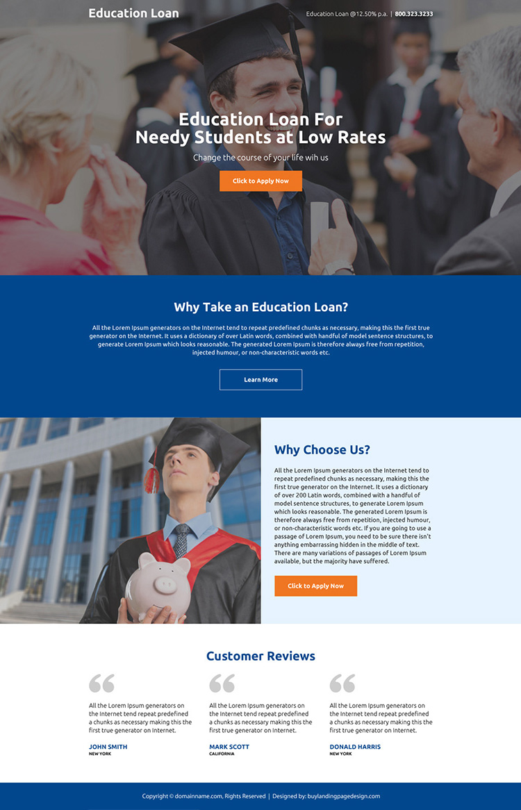 clean education loan mini landing page design