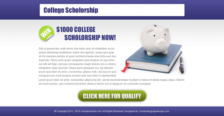 collage scholarship most converting ppv landing page design