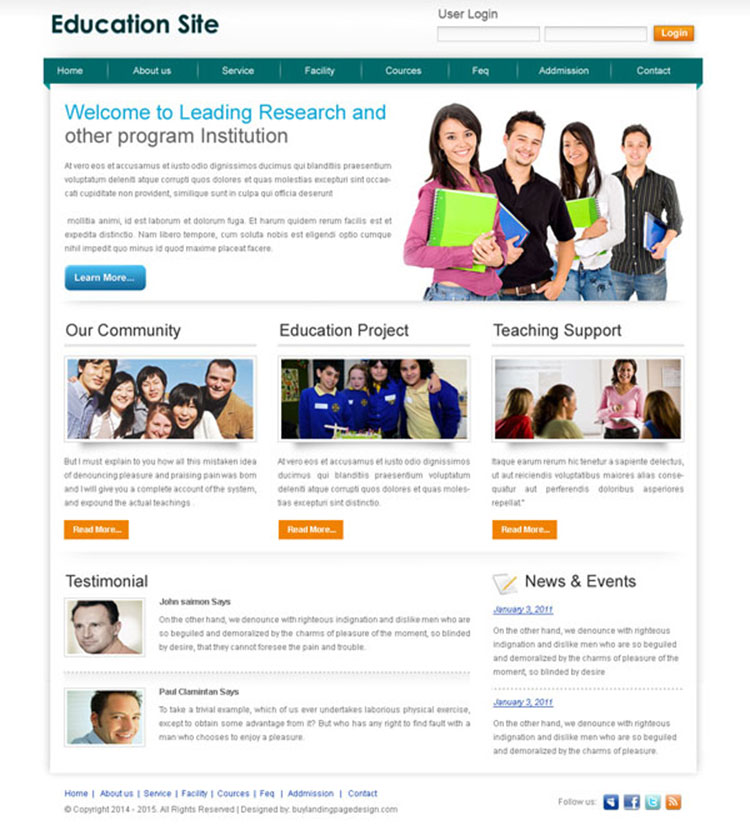 education website template design psd to create your education website