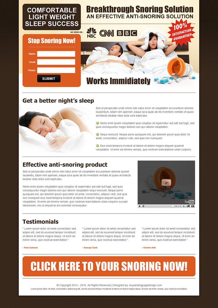 snoring solutions anti snoring pills lead capture landing page