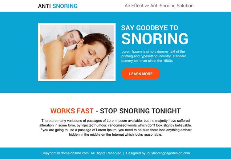 effective anti snoring solutions ppv landing page design