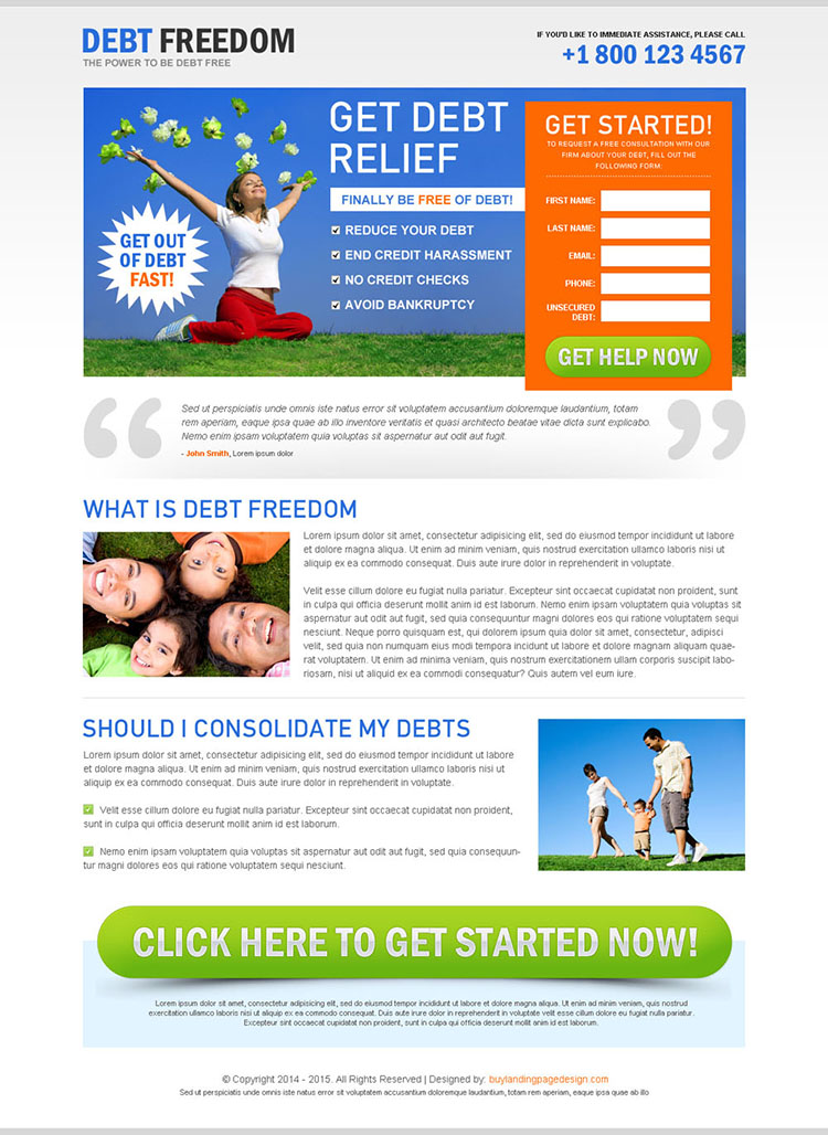 get out of debt lead capture landing page design to boost your business conversion