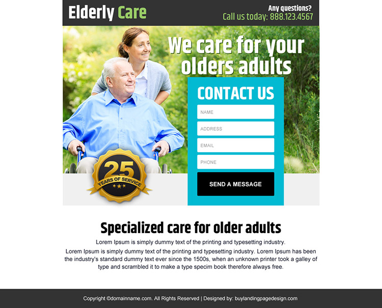 elderly care lead generating ppv landing page design