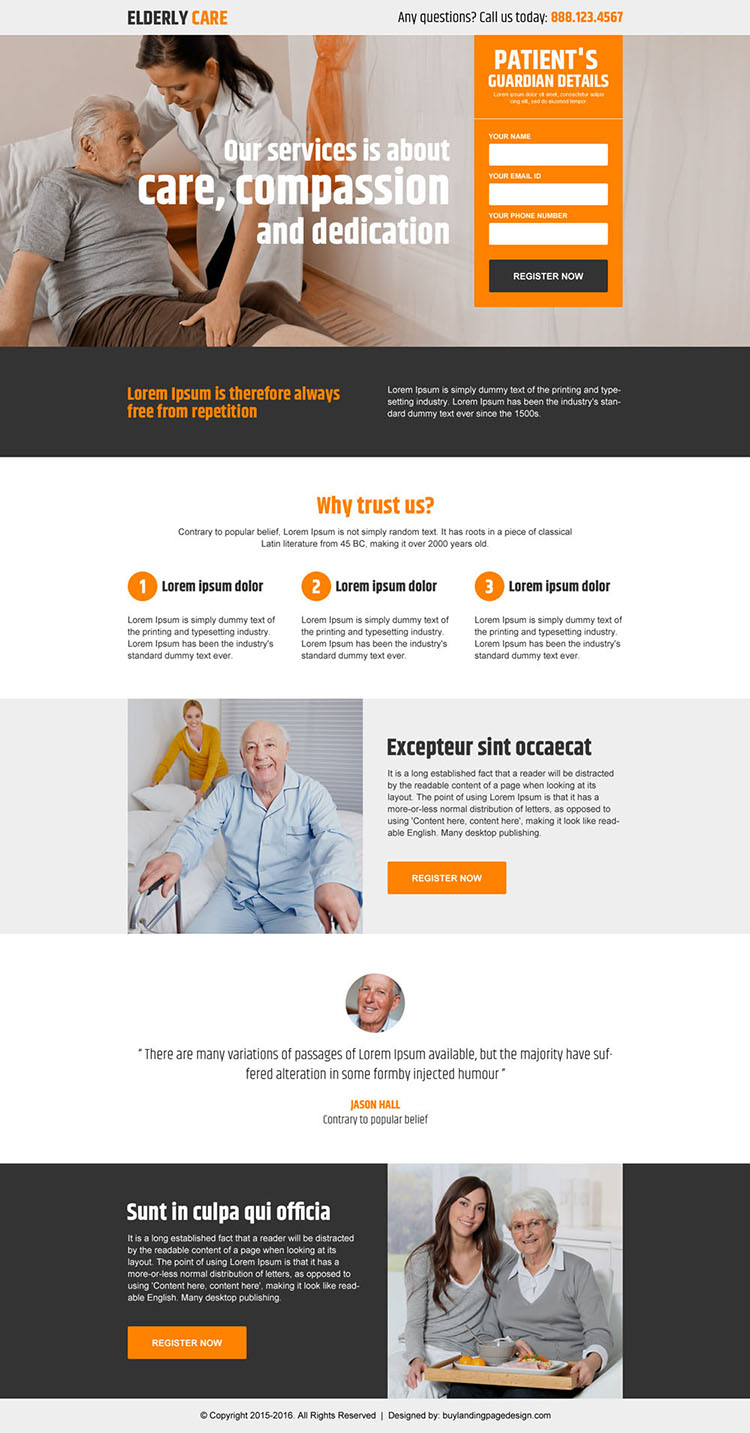 elderly care services lead generating landing page design