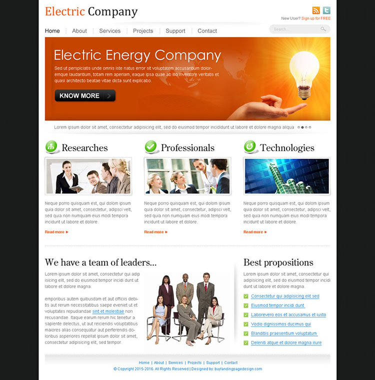 electric energy company website template design psd