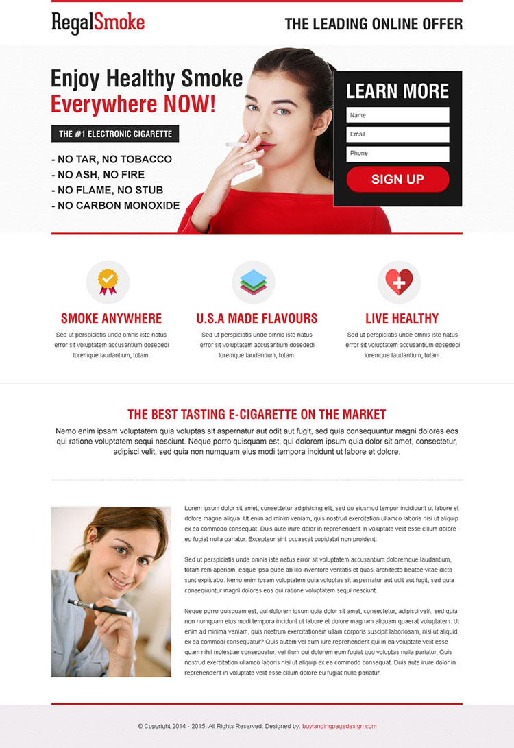 lead capture e-cigarette responsive landing page