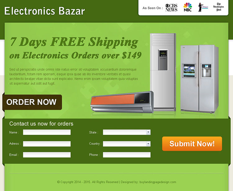 electronics product selling lead capture landing page design for sale