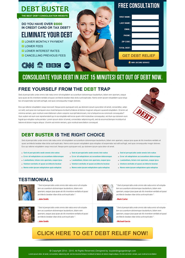 eliminate your debt converting lead capture landing page design