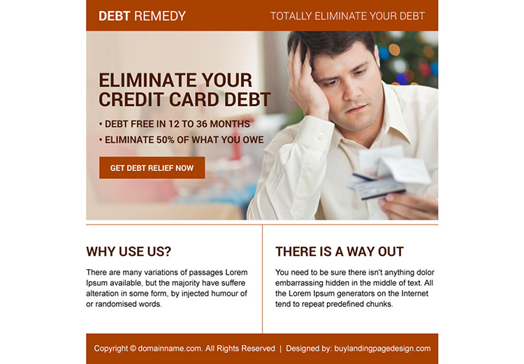 credit card debt relief ppv landing page design