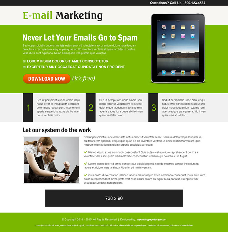 email marketing ppc landing page design