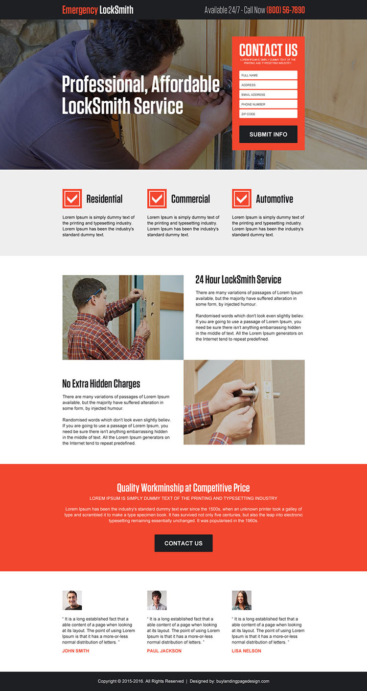 affordable locksmith service lead gen landing page