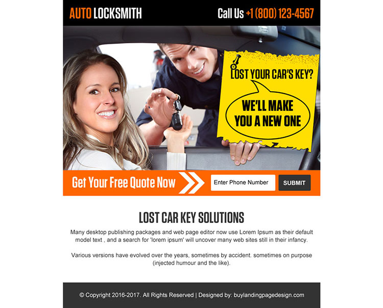 emergency auto locksmith ppv landing page