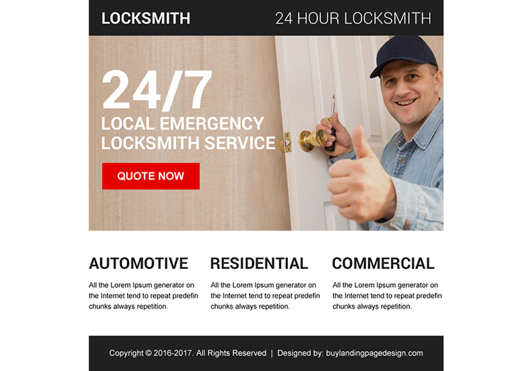 emergency locksmith service ppv landing page