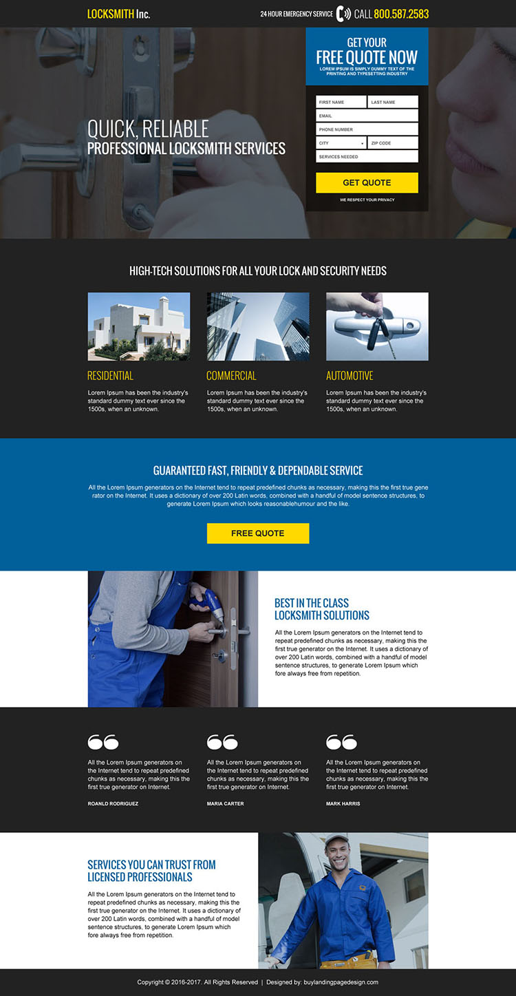 emergency locksmith services usa landing page design