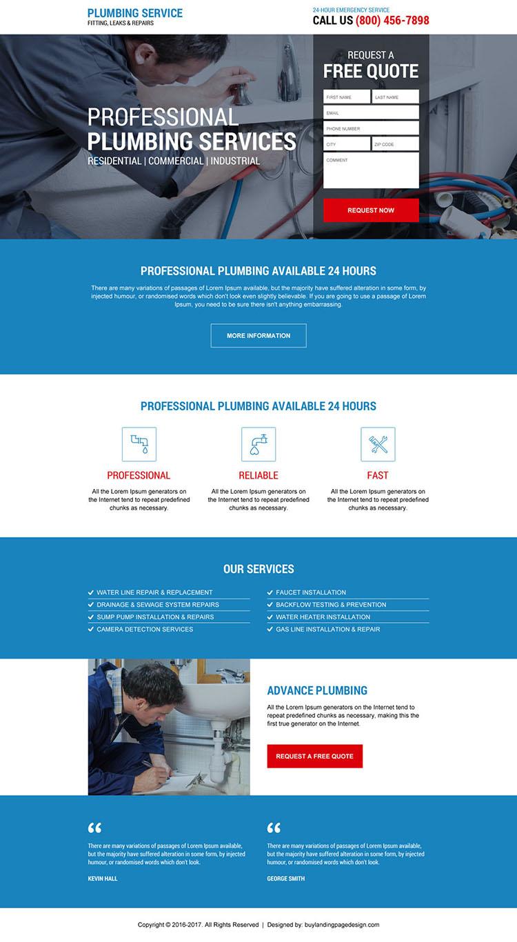 emergency plumbing service landing page design