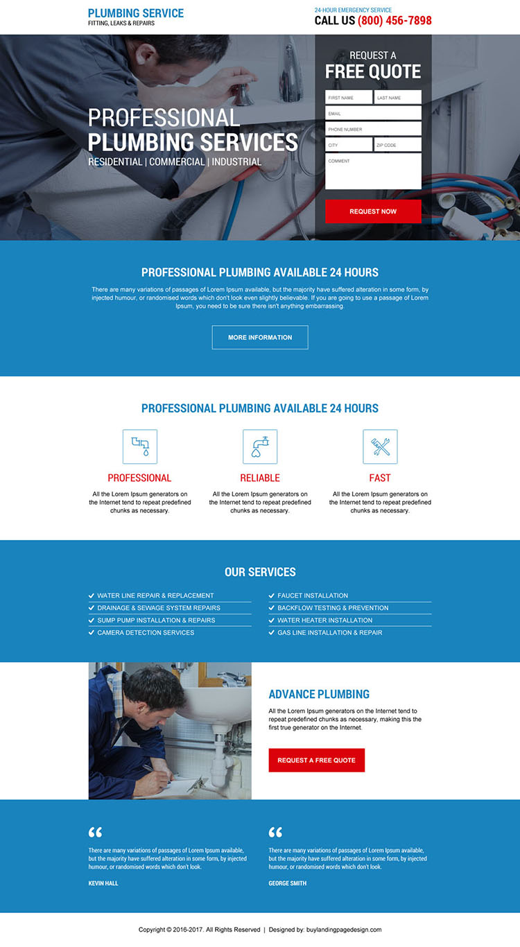 emergency plumbing service responsive landing page design
