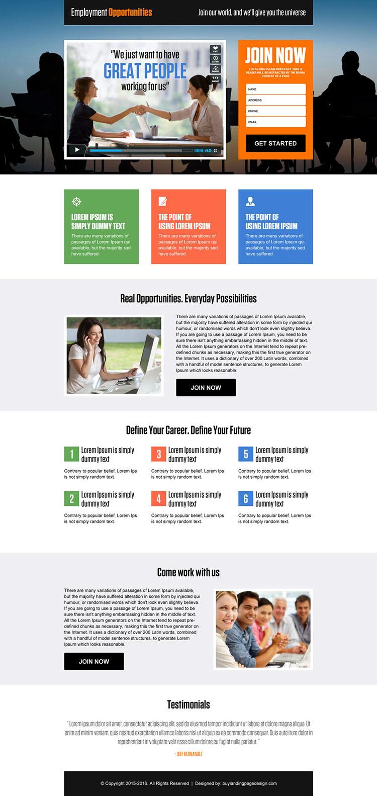 employment opportunities video responsive lead capture landing page design