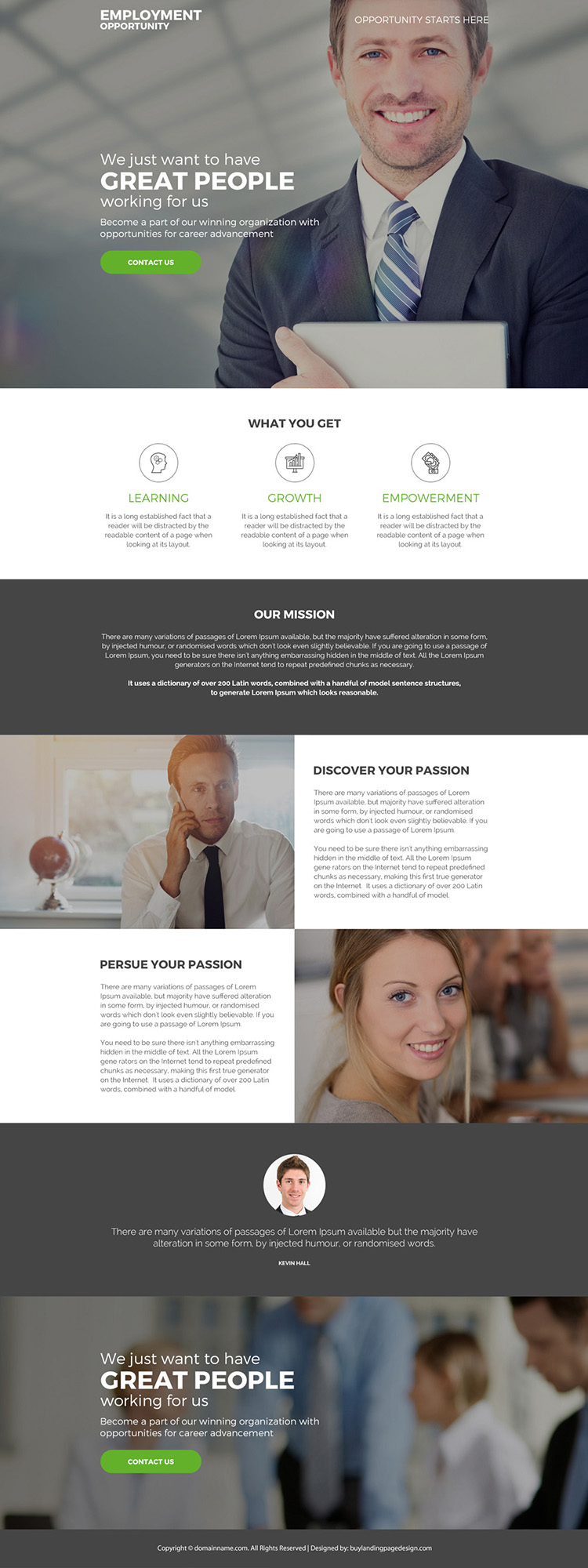 employment opportunity for career responsive landing page