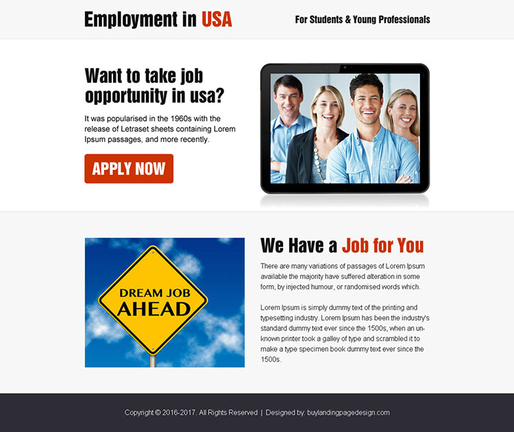 employment opportunity in usa ppv landing page design
