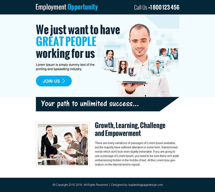 employment opportunity ppv landing page design