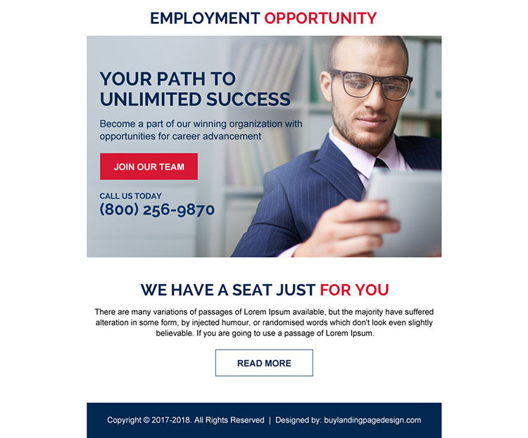 employment opportunity strong call to action ppv landing page