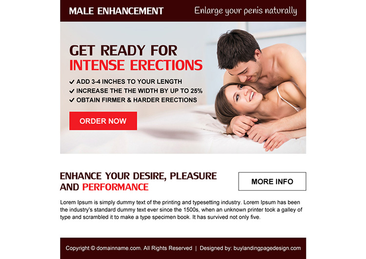 clean and appealing male enhancement ppv landing page design