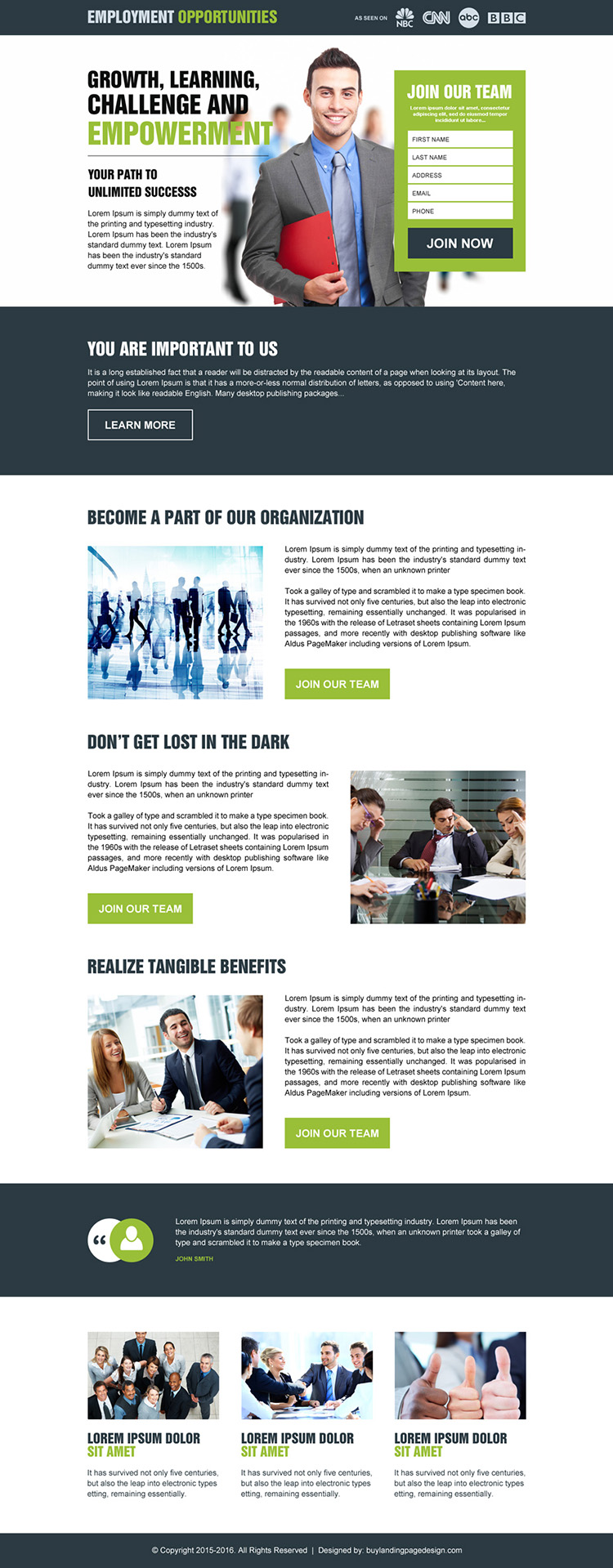 employment opportunity responsive lead generating landing page design