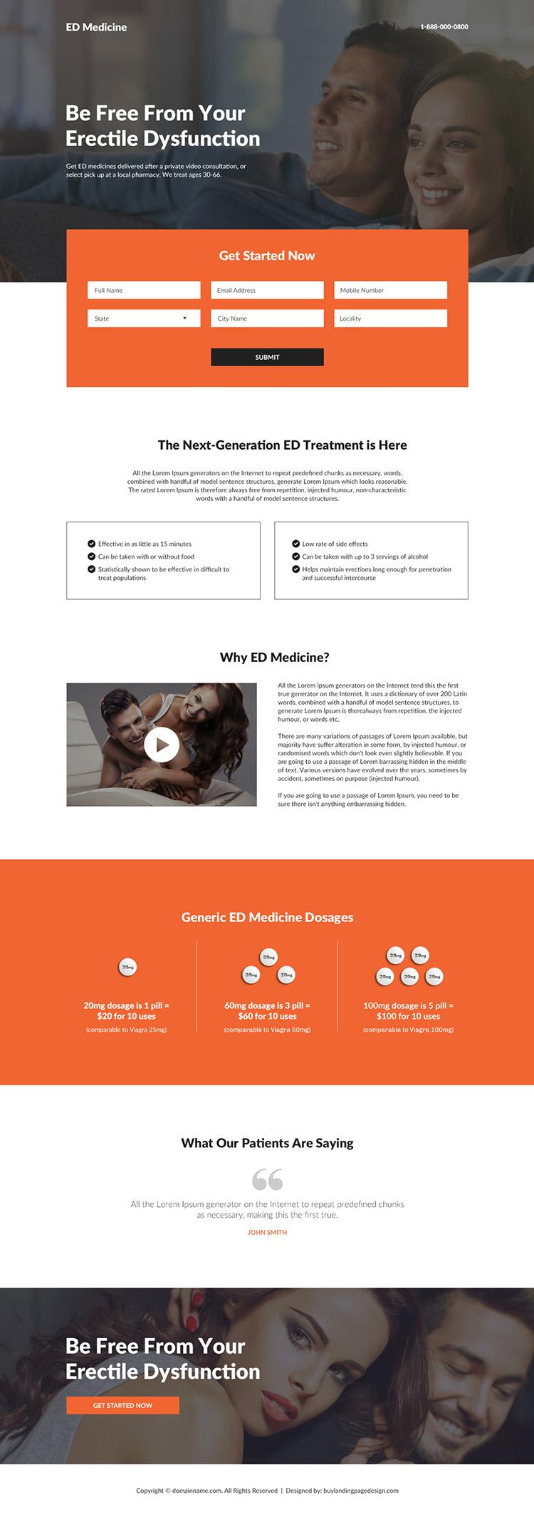 erectile dysfunction lead capture responsive landing page design
