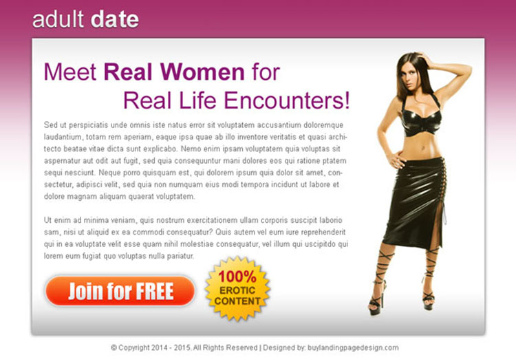 adult dating highest converting ppv landing page design
