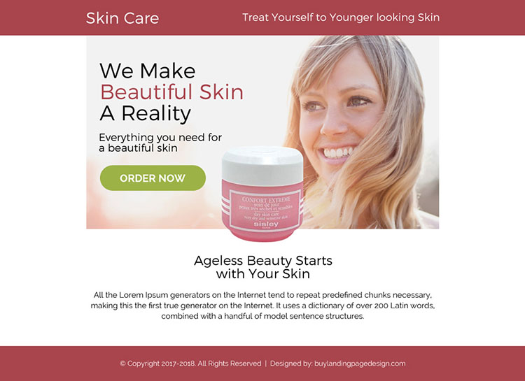 skin care product selling ppv landing page design