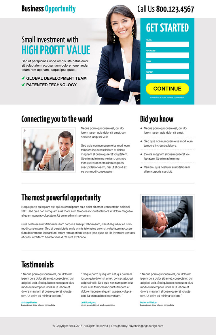 excellent business opportunity lead capture landing page design