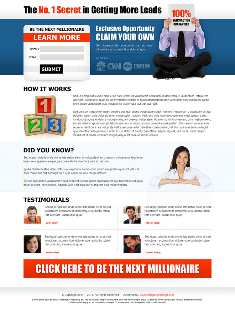 be the next millionaire small lead capture very attractive and most effective lander design